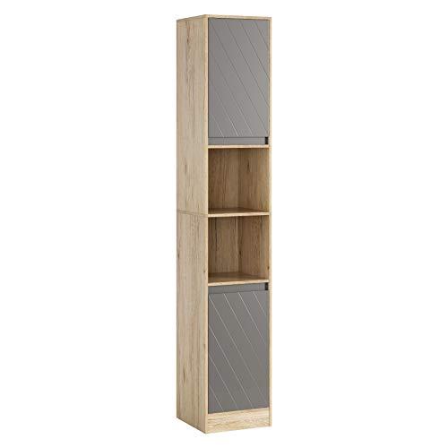 HOMECHO Freestanding Storage Cabinet, Bathroom Slim Tower Cabinet, Narrow Tall Cabinet with Doors and Adjustable Shelves for Living Room, Kitchen, Entrance, Bedroom, Oak Color