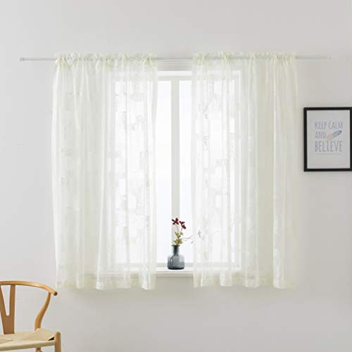 HuiXiu Geometric Trellis Pattern Lace Curtains Rod Pocket 56 x 63 inch Length, Set of 2 Ivory Curtain Panels,Window Voile Drapes for Bedroom