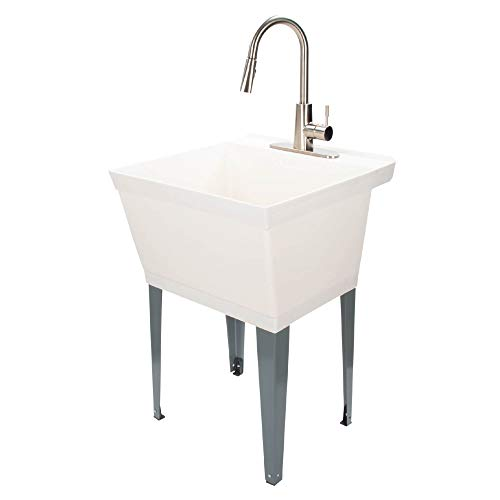 JS Jackson Supplies White Utility Sink Laundry Tub with High Arc Stainless Steel Kitchen Faucet, Pull Down Sprayer Spout, Heavy Duty Slop Sinks for Basement, Garage, or Shop Free Standing Wash Station
