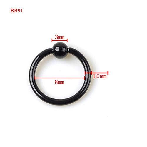SMXGF 10Pcs / Lot Stainless Steel Black Gebogen wenkbrauw Neus Lip Nipple Oren Rings Punk Unisex Piercing Sieraden Groothandel (Color : BB91)
