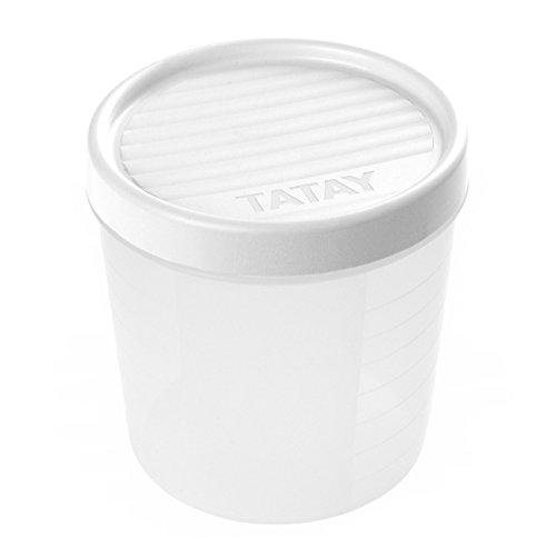TATAY 1160901 - Contenedor de Alimentos hermético con Cierre a Rosca y medidor, transparente con tapa blanca, Libre de BpA, 1 litro de capacidad, 12x12x12.5 cm