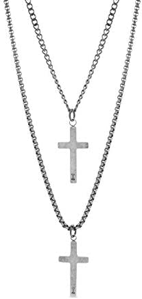 Steve Madden 28 Oxidized Stainless Steel Box and Curb Chain Cross Pendant Duo Necklace Set For product image