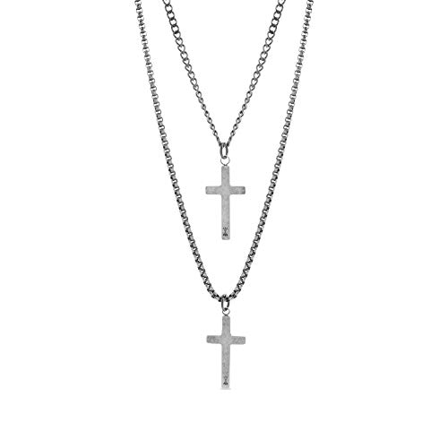 Steve Madden 28' Oxidized Stainless Steel Box and Curb Chain Cross Pendant Duo Necklace Set For Men