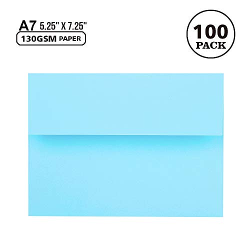 100 Pack A7 Baby Blue Invitation 5x7 Envelopes - Self Seal, Square Flap,Perfect for Baby Shower, 5x7 Cards, Weddings, Birthday, Invitations, Graduation, 5.25 x 7.25 Inches (Baby Blue)