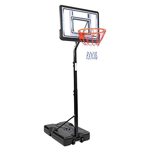 PEXMOR Upgraded Kids Basketball Hoop, Portable Height Adjustable 6.9'-8.5' Sports Basketball Hoop Backboard System Stand with Wheels 34