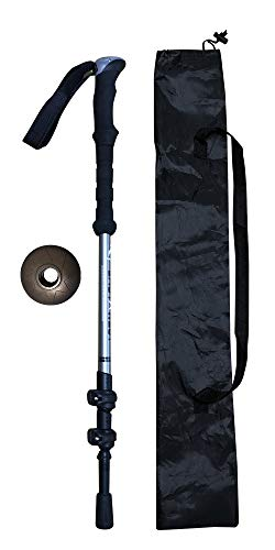 INNO SPORTS Trekking Poles – Stretchable, Superlight, Carbon Fiber Hiking Walking Sticks with EVA Grips and Quick Locks, Terrain Accessory and Carry Bag (Gray)