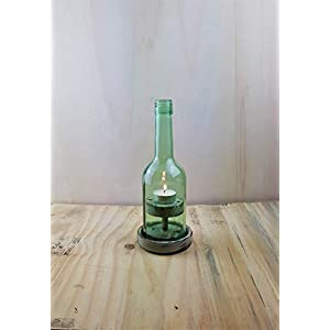 """Weinflaschen – Windlicht,Nr 2.1 Rustikal"""" kurz grau, abgeflammt"""