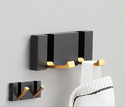 Deshop Paquete de 2 ganchos autoadhesivos para colgar en la pared, ganchos sin agujeros de perforación, baño, cocina, dormitorio, armario (doble gancho)