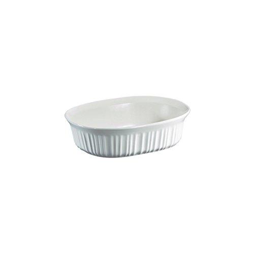 CorningWare French White 1.5 Quart Oval Casserole Bundle: 1.5 Oval with Plastic Lid