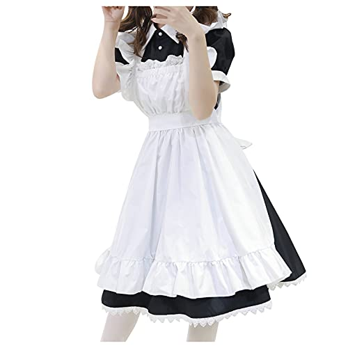 YESIMOLA French Maid Dress for Women Sexy Catgirl Cosplay Maid Outfit Halloween Fancy Dress Apron with Headwear White