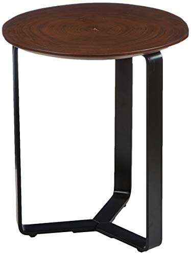 Amazon Brand - Rivet End/Side Table, 38 x 41 x 45 cm, Walnut Table Top/Black metal Frame