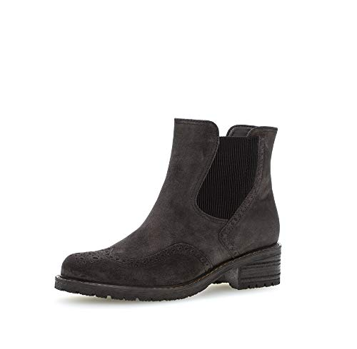 Gabor Damen Stiefeletten, Frauen Chelsea Boots,Mehrweite,Reißverschluss, Bootee Booties halbstiefel Freizeit,Dark-Grey (Mel.),42.5 EU / 8.5 UK