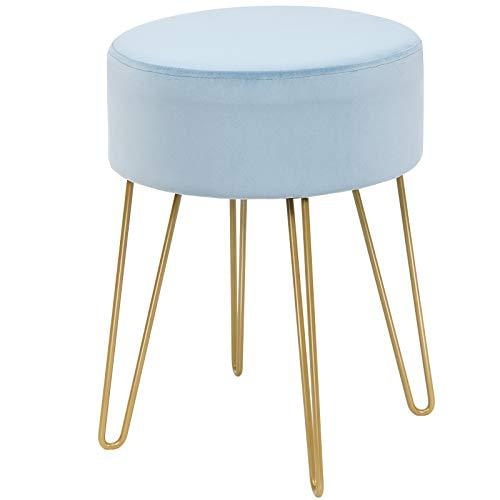 DREAMADE Samthocker Sitzhocker rund, Schminkhocker mit stabilen goldenen Metallfüßen, Fußhocker Samtstuhl Gepolsterter Hocker für Wohnzimmer & Schlafzimmer (Hellblau)