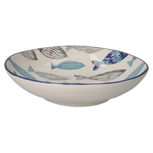 KEYHOMESTORE - Servicio de platos de pescado de porcelana pintada, ideales como servicio para la mesa. Servicio de platos Total Fish.