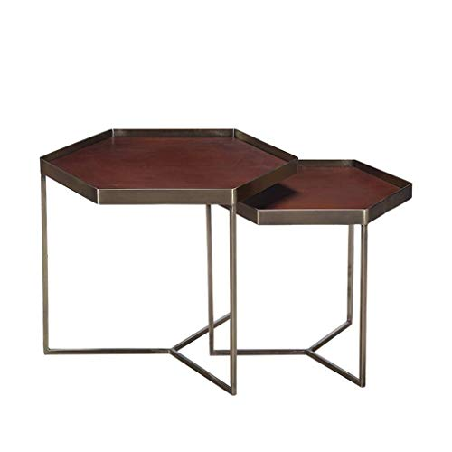 MING-MCZ Escritorio de Oficina en casa Salón combinación de Hierro Forjado Mesa de café sofá Cama Mesa Lateral de la Bandeja de Seis Lados - Tablas de Mesa de café Nest extraíbles Escritorio Plegable