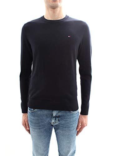 Tommy Hilfiger Herren CORE Cotton-Silk CNECK Pullover, Blau (Sky Captain 403), Large