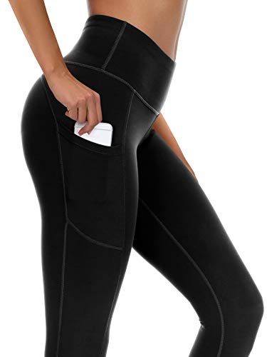syoss Yoga Pants for Women with Pockets High Waisted Leggings with Pockets for Women Workout Leggings for Women 3XL, Black