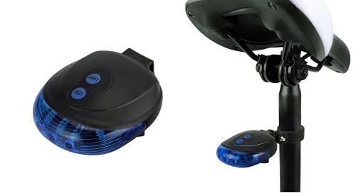 AUTOFORNITURE ITALIA Luz de seguridad trasera azul de LED para bicicleta E-Bike impermeable con 7 funciones