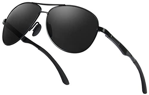 AMZSPORT Herren Polarisierte Sonnenbrille Pilotenbrille Metallrahmen mit Federscharnieren UV400 Schutz, Schwarzer Rahmen Schwarze Linse