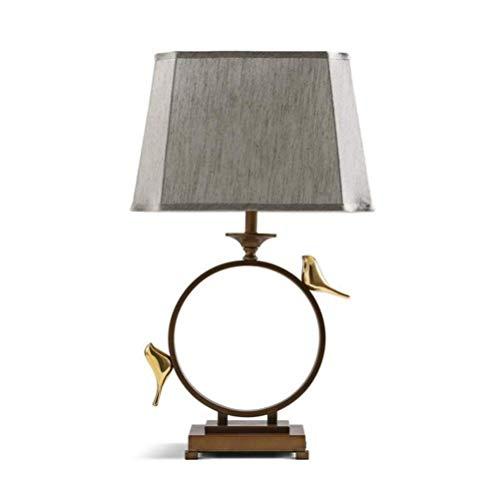 Schreibtischlampe Schlafzimmer Retro chinesischen Stil Nachttischlampe dekorative Goldfarbe Vogel verstellbare Stoff Schatten Schmiedeeisen Tischlampe mit Druckschalter