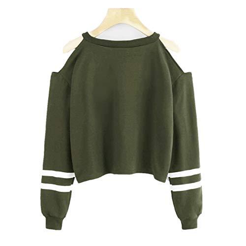 Tops Damen Damen Feste Lange Hülsen-beiläufige Schulterfrei T-Shirt Pullover Bluse...