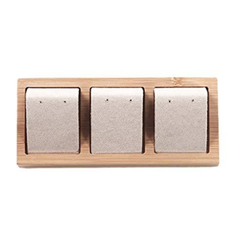 Bonarty Tarjetas de Exhibición de Bambú de Terciopelo/Cuero Sintético para Pendientes de 3 Pares, Accesorios de Joyería, 3 Colores Opcionales - Beige, Individual
