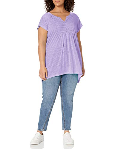 Just My Size Women's Plus-Size Slub Crochet Bib Tunic, Salty Purple, 5X