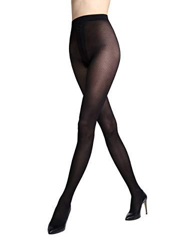 Gatta ondoorzichtige panty met patroon 40den (198-02) - panty met netpatroon geruit mat zwart visgraat - ontworpen & Made in EU
