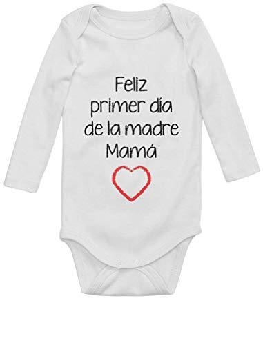 Body de Manga Larga para bebé - Feliz Primer Día de la Madre - para Mamá en su Día 6M Blanco