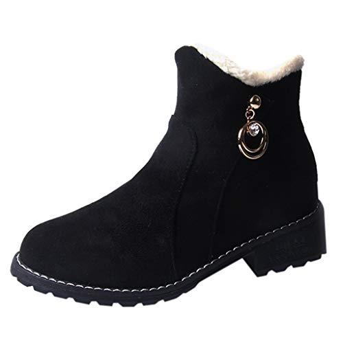 Zapatillas de Mujer de BaZhaHei, Zapatos Pure Color Zipper Boots de Botines de Punta Redonda con Bola de Gamuza para Mujer Cuña de Cabeza Redonda con Bola de Pelo de Ante Botas de Mujer