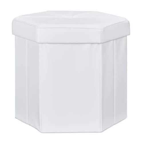Relaxdays Tabouret de rangement pliant pouf avec couvercle H x l x P: 38 x 42 x 42 cm coffre en similicuir banc pliable repose-pieds, blanc