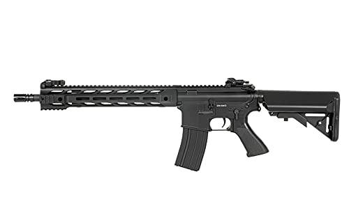 Fusil Airsoft AEG CM.518 M4 AR-15 Negro Largo guardamanos m-lok Alzas abatibles Cyma Rifle táctico eléctrico 6 mm 1 Julio