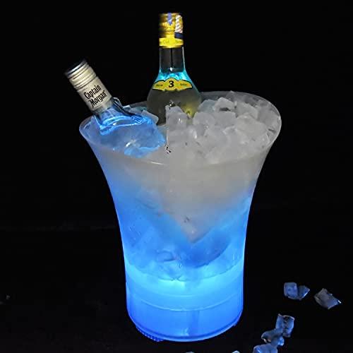 TBBA Cubo de Hielo LED Que Cambia de Color con Altavoz Bluetooth con LED Cambiar Automatica Los Colores para Champagne Vino Bebidas Cerveza Hielo Enfriador Bar Club Pub
