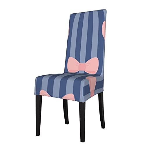 Fundas elásticas para asiento de silla, patrón sin costuras, color rosa pastel con lazos en azul marino, funda protectora extraíble lavable suave para sillas de comedor para cocina, hogar, restaurante