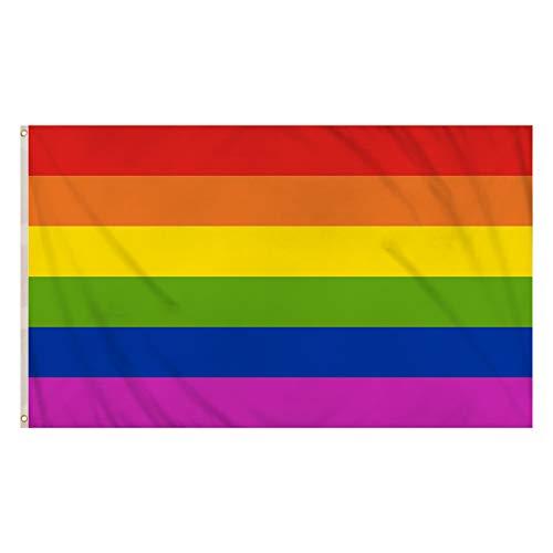 Storm&Lighthouse Regenbogen Flagge Homosexuell Stolz Fahne LGBTQ Banner Flaggen 6 Streifen, 150 x 90 cm, für LGBTQ Festival und Feier