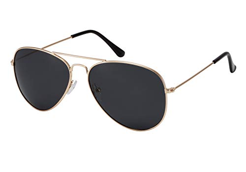 La Optica B.L.M. Herren Sonnenbrille Damen UV400 Retro Pilotenbrille Vintage Fliegerbrille 70er Jahre Groß - Gold Farben (Gläser: Grau)