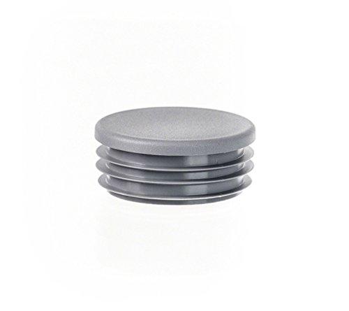 Rundstopfen 38 mm Grau | 5 Stück | Kunststoff Endkappen Verschlusskappen