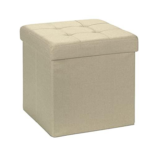 D&D Quality Puff Almacenaje Plegable, Asiento Acolchado, 38 x 38 x 38 cm - Exterior Estilo Lino - Carga Máxima de 300 kg (Beige)