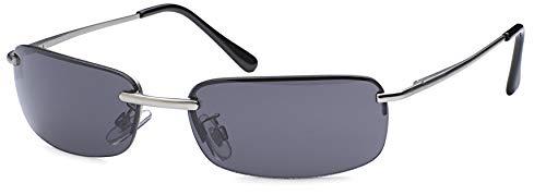 Balinco Rechteckige Herren Sonnenbrille mit Federscharnier Sunglasses Sportbrille Matrix Rad Brille Radbrille Sport (Silver/Smoke)