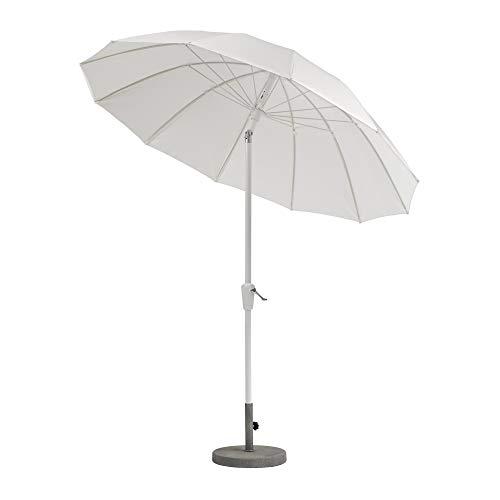 Weishäupl Pagoden Sonnenschirm mit Knickmechanismus Ø240cm, weiß Acryltuch Stamm Ø3,8cm H 239cm ohne Schirmständer Stamm und Streben Aluminium weiß