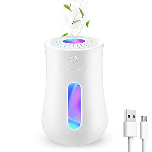 HIETON humidificador portátil con 7 Colores de luz Nocturna, 200 ml Mini humidificadores de Escritorio USB para Coche, Viaje, bebé, Dormitorio, Auto Temporizador, Funcionamiento silencioso (Blanco)