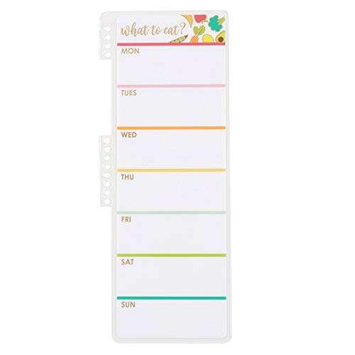 Erin Condren Designer Accessories Snap - in Wet Erase Dashboard for Daily Meal Planning with Shopping List. Laminated Reusable Whiteboard for Dry and Wet Erase Markers