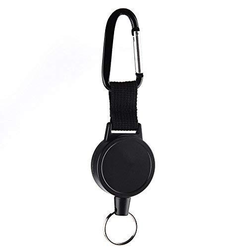 Kuuqa Bobina Badge a catena chiave retrattile con corda in lega d'acciaio 65 cm, nera