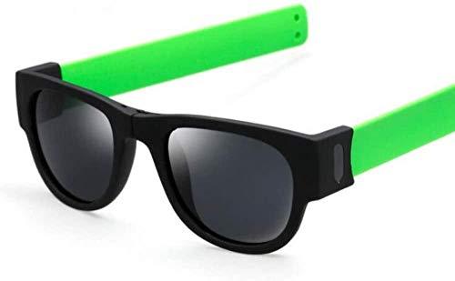 ZYIZEE Gafas de Sol Creativo Plegable Hombres Mujeres Gafas de Sol Pulsera Slappable Gafas de Sol Pulsera Gafas-Verde