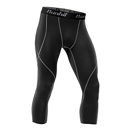 Runhit 3/4 Mens Compression Pants Leggings Tights Sport Shorts Baselayer Cool Dry