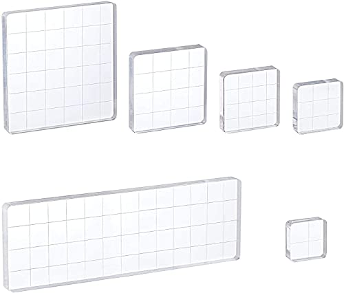 Whaline 6 Pieces Acrylic Stamp Block Clear Stamping Tools Set with Grid Lines for Scrapbooking Crafts Card Making, Assorted Sizes