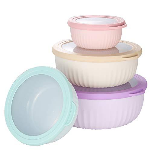 4-teiliges Schüssel mit Deckel Kunststoff Rührschüssel Salatschüsseln Plastikschüssel mit Deckel BPA-frei Frischhaltedosen Stapelbar Multischüssel 0.4L/ 0.8L/ 1.4L/ 2L