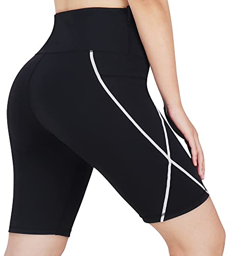 3W GRT Pantalones Corto Mujer Leggins de Yoga para Mujer Mallas Cortas de Deporte de Mujer Pantalón Corto Deportivo para Mujer Cintura Alta Ciclismo Correr Bolsillos Laterales Reflectantes (Negro, S)