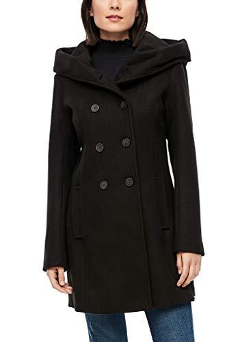 s.Oliver Damen Wollmix-Mantel mit großer Kapuze black 42