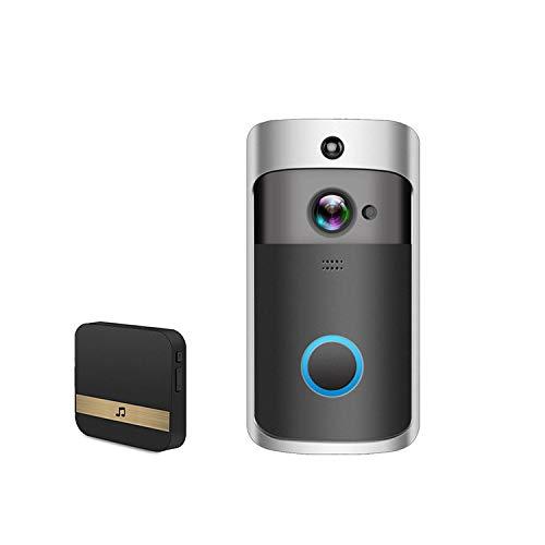 CYiFeng Timbre de Video inalámbrico, Timbre Inteligente WiFi 720P HD, cámara de vigilancia con Lente Gran Angular de 166 °, Llamadas y Video bidireccionales(Negro)